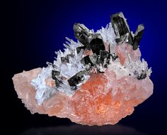 Hubnerite and Quartz on Fluorite - Mundo Nuevo...