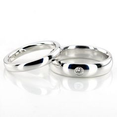 Dome Solitaire Wedding Band Set; Together - $700.00