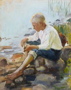 Poika rannalla (Boy on the Shore), by Pekka Halonen on Curiator, the world's biggest collaborative art collection. Scandinavian Art, Canadian Art, Oil Painting Reproductions, Art Plastique, Art Forms, Les Oeuvres, Art History, Art Museum, Portraits