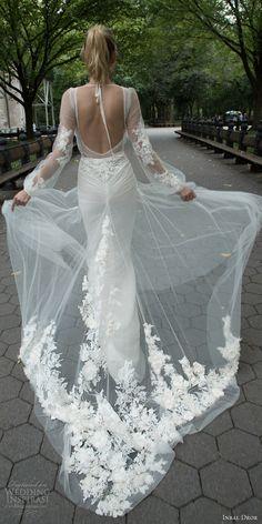 inbal dror 2016 illusion long bishop sleeve v neck sheath lace wedding dress overlay a line skirt style 20 bkv applique trrain keyhole back