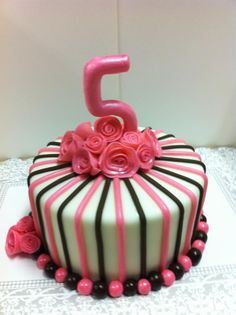 pink and brown stripes cake