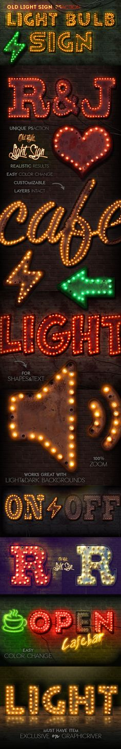Old Light Sign Photoshop Action  #neon style #neon text #photoshop neon light • Available here → http://graphicriver.net/item/old-light-sign-photoshop-action/15683202?ref=pxcr