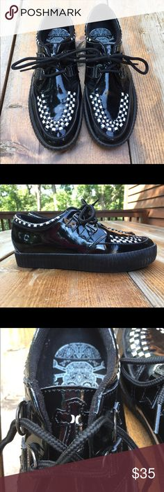 Hurley Gothic Patent Leather Skate shoes size 8.5 Hurley gothic skater shoes. Size 8.5, good condition. Hurley Shoes Sneakers