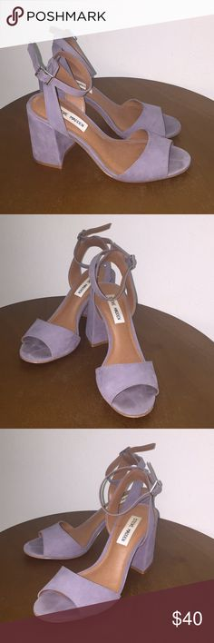 Steve Madden Gray Heels These are great neutral open-toed Steve Madden heels! They have been worn a handful of times but have minimal wear to them. Fits like a true size 7. Steve Madden Shoes Heels