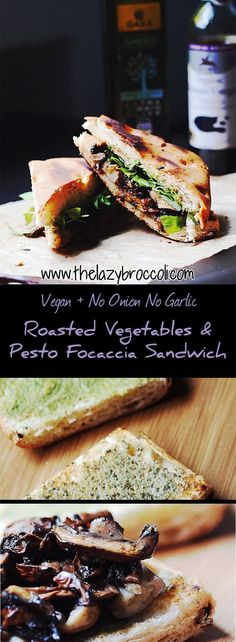 This vegan roasted vegetables and pesto focaccia sandwich is absolutely delicious. Perfect for a healthy and filling lunch! Vegan Vegetarian, Vegetarian Recipes, Cooking Recipes, Vegetarian Sandwiches, Vegan Sandwich Filling, Vegan Food, Going Vegetarian, Vegetarian Dinners, Healthy Recipes