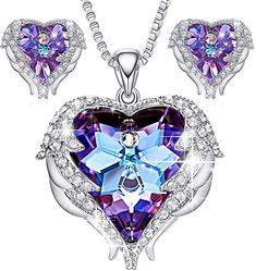 596febcff Amazon.com: CDE Angel Wing Swarovski Jewelry Set Women Jewelry 18K White Gold  Plated