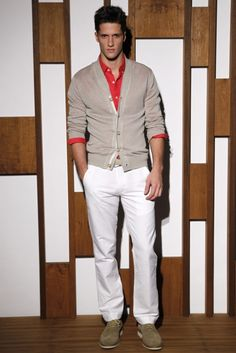 Spring/summer 2012- tangerine tango men's red shirt, beige cardigan and white pants