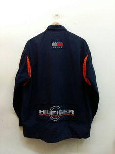 3d8191176b674e TOMMY Hilfiger Jacket Men Medium Vintage 90 s Streetwear Tommy Jean Jacket  Sport Tech Denim Spell Out Zipper Windbreaker Jacket Size M