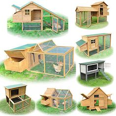 Wood Chicken Coop Rabbit Hutch Run Backyard Nesting Box Pet Cage Various Styles