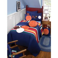 @Overstock.com - Just For Kicks Sports and Stripes Full/ Queen Quilt Set - Enliven your bedroom with this sports themed quilt from Just for Kicks. This sports themed cotton quilt features a sports and stripe design with matching shams.   http://www.overstock.com/Bedding-Bath/Just-For-Kicks-Sports-and-Stripes-Full-Queen-Quilt-Set/6613720/product.html?CID=214117 $79.99