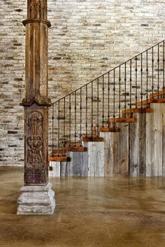 Classy Hill Country Residence Interior Design with Brick Wall Exposed, Wooden Staircase, Black Iron Railing, and Ancient Pillar Ideas by Jauregui Architecture. Wonderful Hill Country Residence Architecture And Interior Design