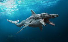 Sea monster by Sergey Chesnokov Alien Creatures, Ocean Creatures, Fantasy Creatures, Mythical Creatures, Ocean Monsters, Cool Monsters, Alien Concept Art, Creature Concept Art, Monster Art