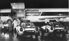 Alitaila were title sponsor to the Lancia team, so Lancia were unique back in the in having the luxury of being able to fly their rally cars to certain events, here they are setting off for the 1977 East African Safari. Automotive Photography, Car Photography, Monte Carlo, Lancia Delta Integrale, Photo Forum, Gilles Villeneuve, Because Race Car, Rally Car, African Safari