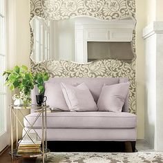 This floral wallpaper features an oversized rendition of a traditional tulip damask and scroll pattern reinvented for today's transitional and contemporary styling. Frameless Mirror, Wall Seating, Relaxation Room, Interior Decorating, Interior Design, Ballard Designs, Formal Living Rooms, Sectional Sofa, Living Room Furniture