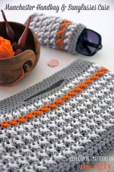 Learn how to make this crochet Manchester Handbag and Sunglasses Case with a FREE PATTERN!
