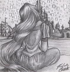 Disney: Rapunzel and Lantern Sketch by =kimberly-castello