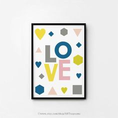 Printable nursery art Baby room wall art  LOVE Typographic Poster Children Cute Decor 8x10 11x14 A4 A3 Digital pint INSTANT DOWNLOAD