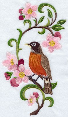 Michigan Robin & Apple Blossom Medley by EmbroideredbySue on Etsy Embroidery Online, Japanese Embroidery, Crewel Embroidery, Cross Stitch Embroidery, Embroidery Patterns, Embroidered Quilts, Free Machine Embroidery Designs, Embroidery Techniques, Quilting Projects