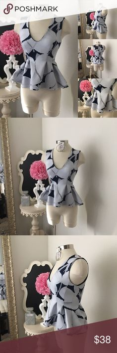🌺 Cynthia Rowley  Hot Navy Print Peplum Top 🌺 Cynthia Rowley  Hot Navy Print Peplum Top - Sleeveless Style - Peplum Design - Back Exposed Zipper - Dress Up With a Designer Jean & Heel 🔥 Top Is Lined  $49 - New w/ Tags. (Reg: $70) Size: XS  Fabric : 84% Micro Polyester- 16% Lycra   🌺 Accessories Not Included But Are also for Sale  Please Check out my Other Items in my GIRLe B Posh Shoppe'  Like us on FB   www.facebook.com/girleboutique Thanks For Looking & Always Let your Clothes get All…