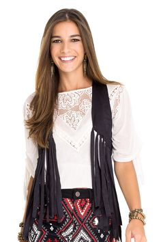 colete liso franjas - Casacos | Dress to