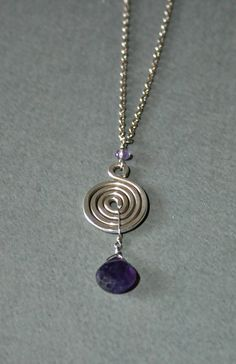 Amethyst Faceted Teardrop Silver Spiral Pendant Necklace. $65.00, via Etsy.