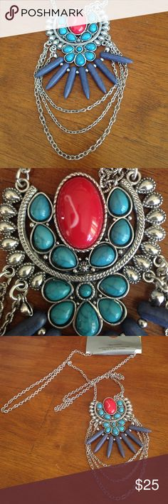 "♨️ ‼️ Hot Tribal Turquoise necklace - NWT!❗️ 34"" silver tone chain with extender, faux turquoise and coral and lapis lazuli centerpiece pendant. This is a stunner!! New with tags! Jewelry Necklaces"
