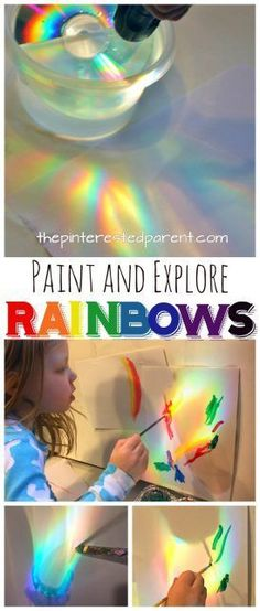 Rainbows: Make, explore and paint rainbows. Use a CD and sunlight or a flashlight to cast rainbows, study and paint with watercolors or color with markers or crayons. A great piece of process art for kids. Art and science, STEAM projects for preschoolers. Rainbow Activities, Steam Activities, Learning Activities, Preschool Activities, Art Activities For Preschoolers, Process Art Preschool, Steam For Preschool, Rainbow Crafts Preschool, Letter R Activities