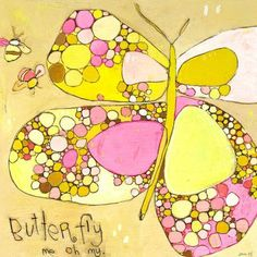 """Oopsy Daisy Me Oh My Butterfly Canvas Art Size: 14"""" H x 14"""" W x 1.5"""" D"""