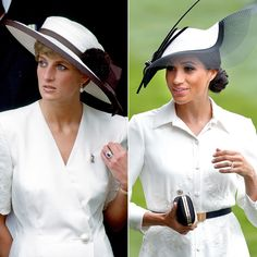 "meghantheduchyofpitstains: ""You know all these were purposely planned by Markle. In her delusional head she expected the newspapers to compare her to Diana in every way. Kate And Meghan, Princess Meghan, Princesa Diana, Lady Diana, Princess Of Wales, Fashion Books, Panama Hat, Riding Helmets, Celebrities"