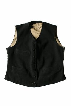 French antique wool vest/gilet/waistcoat/France/1900s 1910s/patched repaired/Black/232 $182.can