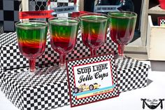 Jello stop lights! bc Im a working mom and don't have time to do whats in the pic lol I will probably just do different cups with red,yellow and green have that set up as part of the food table- may just make some for the adults too!