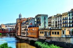 Along the River in Colorful Girona, Spain
