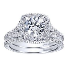DIAMOND ENGAGEMENT RINGS - 1.30cttw Round Diamond Engagement Ring With Cushion Shaped Halo And Split Shank