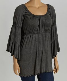 This Charcoal Empire-Waist Top - Plus is perfect! #zulilyfinds