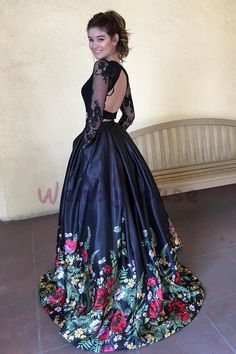 fa9a8500939 Backless Long Sleeves Floral Long Prom Evening Dress from wendyhouse