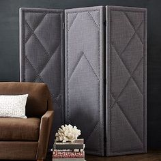 Patterned Nailhead Upholstered Screen #westelm (Love this. Just not in this color.)