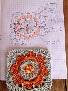 Crochet square - pattern written in Hungarian with a diagram -  Szemem Tükrében: Virágos nagyi négyzet horgolása...leírásommal