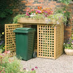 The kanny binstore accommodates two wheelie bins has an option with doors or without. It features a planter on top which has a liner included. Manufactured from 35x29mm timber framing, the trellis is manufactured from 29x16mm timber. Both bin stores are pressure treated and suppl