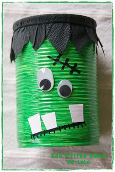 Déco monstre vert avec une boîte de conserve...
