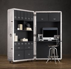 Classy cubicle (1950's aviation inspired mobile workspace from Restoration Hardware $$$$)