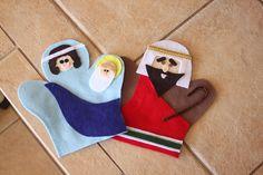 Embellish: {tutorial & free printable pattern} Felt Nativity Hand Puppets