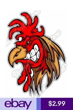 "Red Rooster Cock Chicken Bird Spurs Car Bumper Window Vinyl Sticker Decal 4/""X5/"""