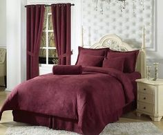 7pcs Solid Burgundy Red Micro Suede Duvet Cover Bedding Set King Size