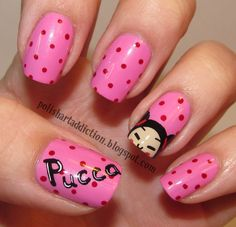 I love Pucca! This nails are little bit more darker pink with red marks a one Pucca´s head.