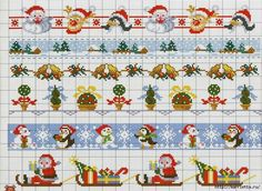 Christmas border cross stitch chart / cross stitch pattern - but may also be…