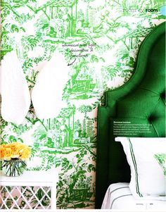 ^ Love Kelly Green.  Love the headboard.  Wallpaper could be nice in a small space.