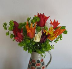 Tulips taken from our garden April 28 Girl Photos, Tulips, Vase, Spring, Garden, Floral, Flowers, Decor, Style