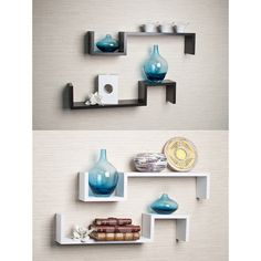 Laminated Espresso 'S' Wall Mount Shelves (Set of 2) - Overstock™ Shopping - Great Deals on Danya B Accent Pieces
