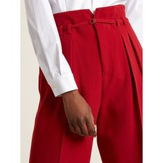 REDValentino High-rise crepe cropped wide-leg trousers (370 NZD) ❤ liked on Polyvore featuring pants, capris, wide leg cropped trousers, high-waist trousers, high waisted crop pants, high waisted trousers and red wide leg pants