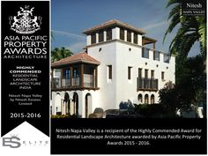 We are extremely delighted to announce that Nitesh Napa Valley is a recipient of the Highly Commended Award for Residential Landscape Architecture awarded by Asia Pacific Property Awards 2015 - 2016.